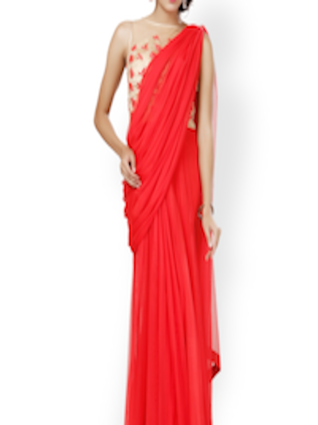 fc05a48acac Buy Eavan Red   Beige Embroidered Saree Gown - Dresses for Women 755023