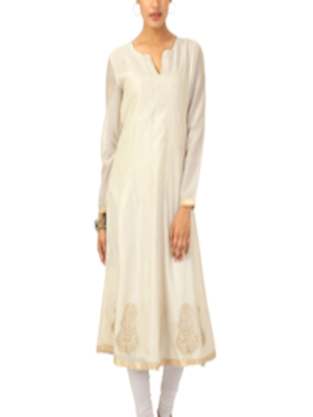 Buy Fabindia Women Off White Anarkali Kurta Kurtas For Women 77392 Myntra