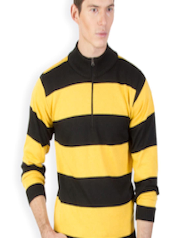 Buy Kapapai Men Yellow Black Striped Woollen Sweater Sweaters