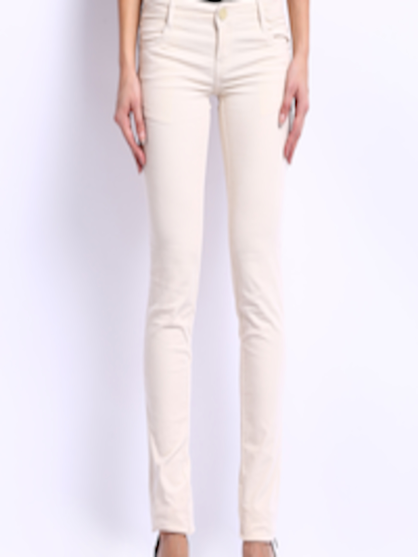 Buy Kraus Jeans Women Cream Coloured Slim Fit Corduroy ...