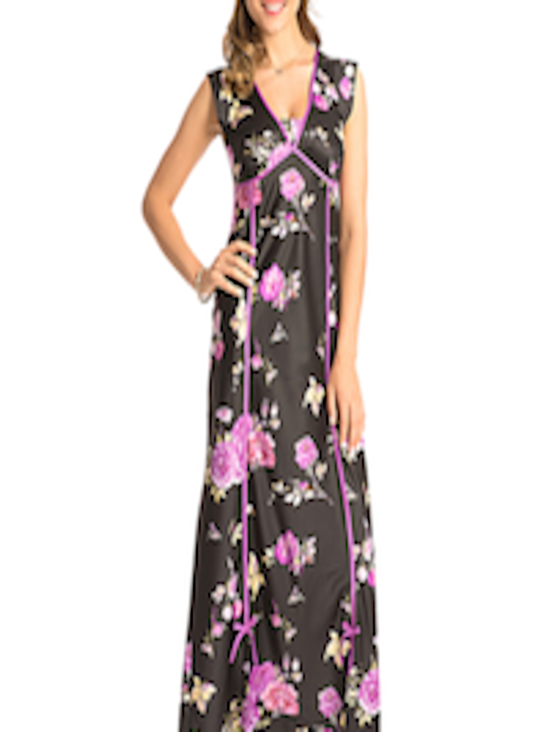 Buy PrettySecrets Women Black Floral Print Maxi Nightdress PSW14SCL11 -  Nightdress for Women 445282  7693bd22c