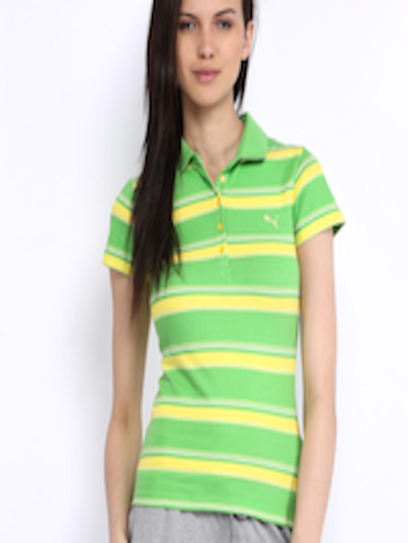 5428f9a3 Buy Puma Women Lime Green & Yellow Striped Polo T Shirt - Tshirts for Women  299862   Myntra
