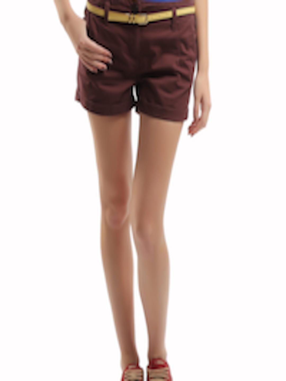 Buy Roadster Women Maroon Hot Pants Shorts For Women