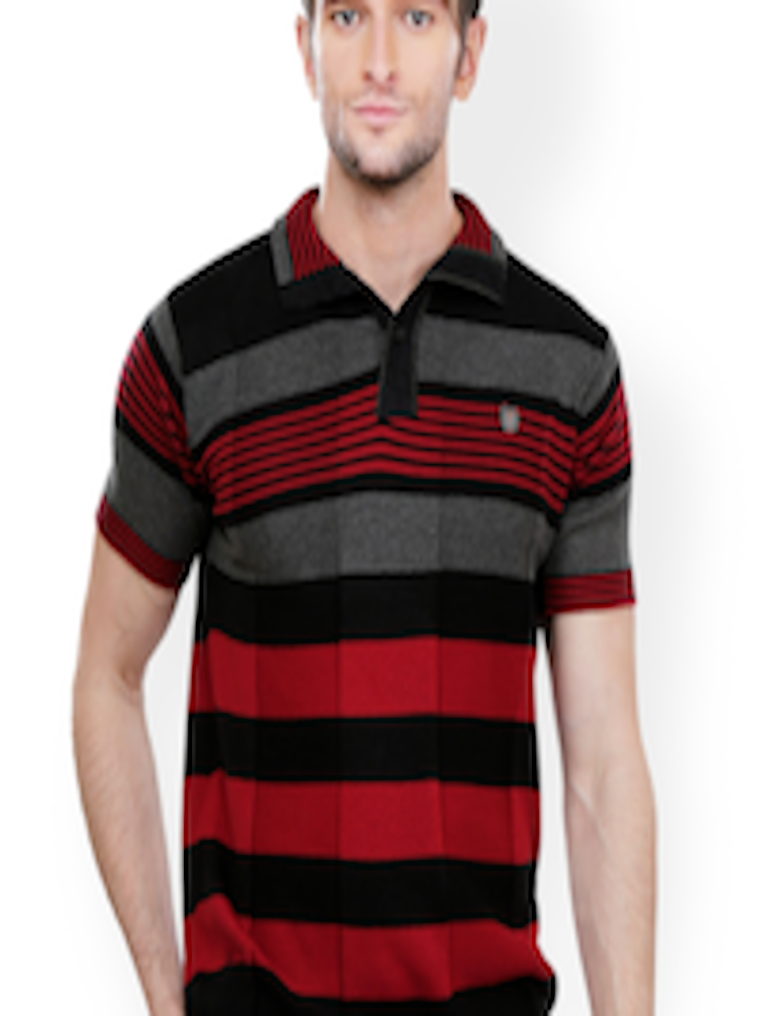 a422340f406 Buy Stride Men Black   Red Slim Fit Polo T Shirt - Tshirts for Men 574394