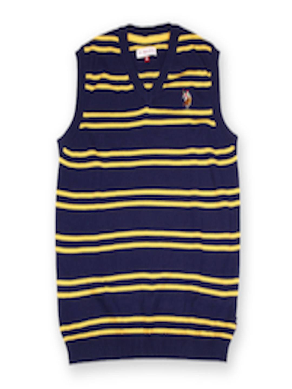 09fc03ac74ac Buy U.S. Polo Assn. Kids Boys Navy   Yellow Striped Sleeveless ...