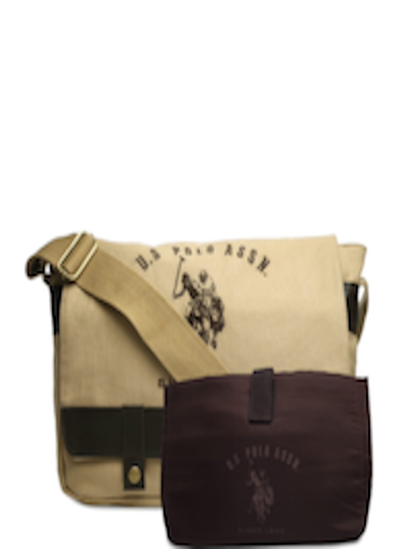 ... Buy U.S. Polo Assn. Men Beige And Brown Messenger Bag - Messenger Bag  for Men ... 6a9fa708de941