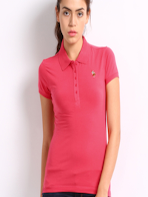 buy u s polo assn women pink polo t shirt tshirts for women 168943 myntra. Black Bedroom Furniture Sets. Home Design Ideas