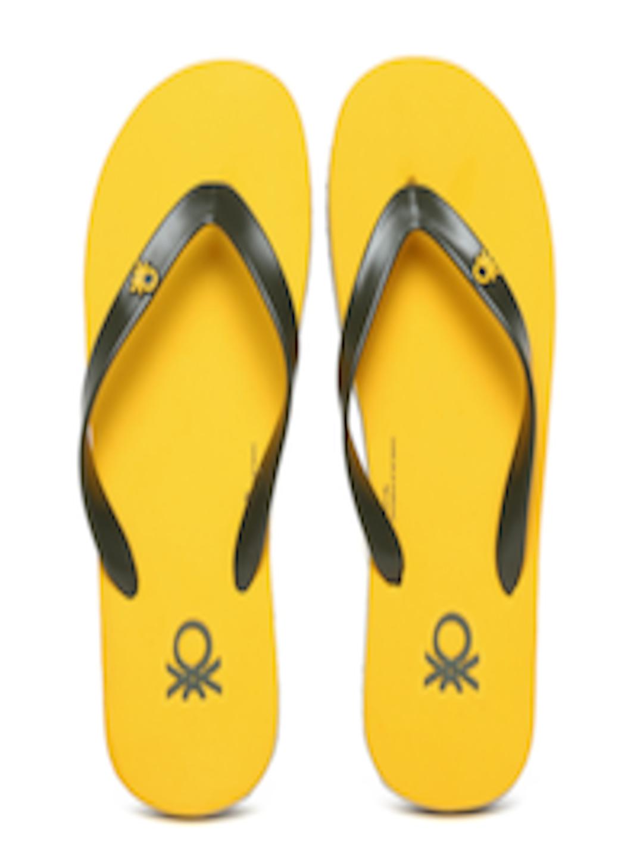 Buy United Colors Of Benetton Men Olive Green Flip Flops -7159