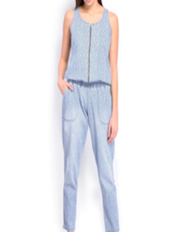 973fa6b9cf58 Buy Vinegar Women Light Blue Floral Printed Denim Jumpsuit - Jumpsuit for  Women 641119