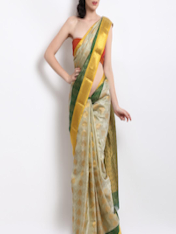 e8c74a147a Buy Vivikta Light Green & Gold Pure Kanjivaram Silk Saree - Sarees for  Women 171141   Myntra
