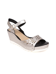 6d4924f2dd44 Carlton London Women Silver Toned Cut Out Wedges Carlton London Heels  available at Myntra for Rs