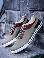 Puma Unisex Grey & Maroon Sneakers