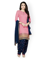 Kvsfab Pink Navy Embroidered Cotton Chiffon Unsched Dress Material