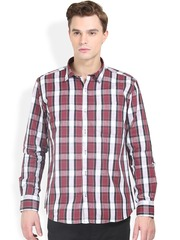 Orange Valley Maroon & White Checked Slim Fit Casual Shirt