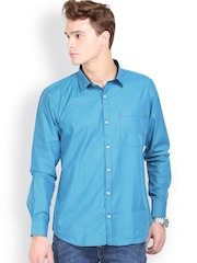 Orange Valley Blue Checked Slim Fit Casual Shirt