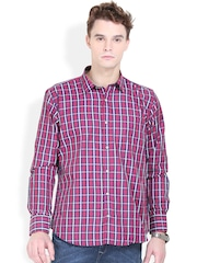 Orange Valley Maroon & Blue Checked Slim Fit Casual Shirt