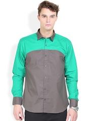Orange Valley Grey & Green Slim Fit Casual Shirt