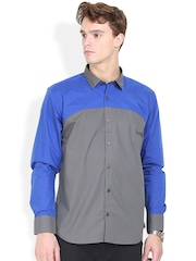 Orange Valley Blue & Grey Slim Fit Casual Shirt
