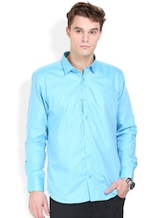Orange Valley Turquoise Blue Slim Fit Casual Shirt