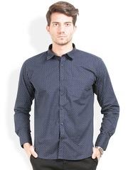 Orange Valley Navy Printed Slim Fit Casual Shirt