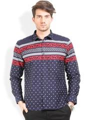 Orange Valley Navy Polka Dot Print Slim Fit Casual Shirt