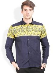 Orange Valley Navy & Yellow Printed Slim Fit Casual Shirt
