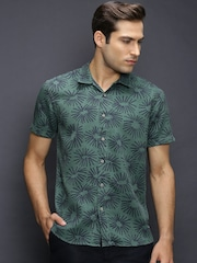 Scotch & Soda Green & Navy Printed Casual Shirt