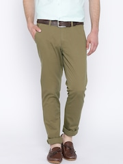 John Players Olive Green Slim Casual Trousers