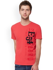 ELABORADO Red Printed Slim Fit T-shirt
