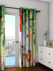 SWAYAM Kids Multicoloured Single Jungle Print Blackout Door Curtain