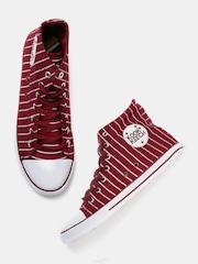 Kook N Keech Men Maroon Striped High-Top Sneakers
