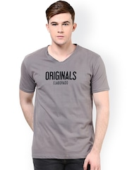 ELABORADO Grey Printed Slim Fit T-shirt