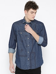 CODE by Lifestyle Men Navy Blue Regular Fit Checked Casual Shirt