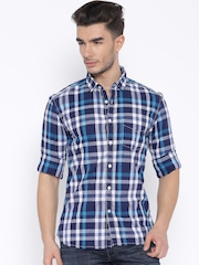 CODE by Lifestyle Navy Checked Slim Fit Casual Shirt