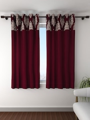 Fashion String Set Of 2 Maroon Cream Coloured Window Curtains