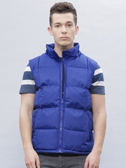 ether Blue Sleeveless Puffer Jacket with Detachable Hood