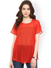 Pannkh Red Polyester Sheer Top