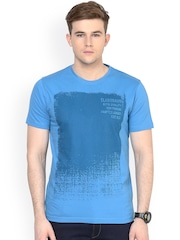 ELABORADO Blue Printed Slim Fit T-shirt