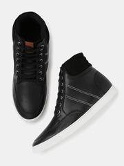 Roadster Men Black Mid-Top Sneakers