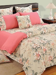 SWAYAM Beige & Pink 180 TC Fine Cotton Double Bedsheet with 2 Pillow Covers