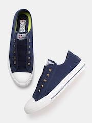 Kook N Keech Unisex Navy Blue Solid Slip-On Sneakers