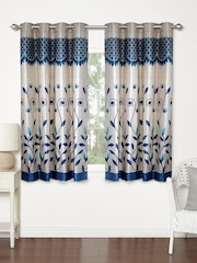 Home Sizzler Blue Set Of 2 Printed Regular Window Curtains