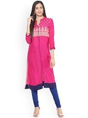 Prakhya Women Pink Embroidered Straight Kurta