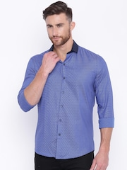 CODE by Lifestyle Men Blue Slim Fit Smart Casual Shirt
