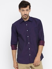 American Crew Men Navy Blue Slim Fit Printed Casual Shirt
