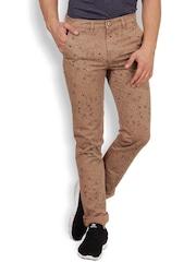 IVOC Men Brown Printed Slim Fit Chino Trousers