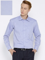 American Crew Men Blue Slim Fit Self-Design Formal Shirt