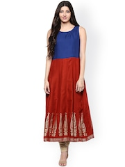 Prakhya Women Red & Blue Solid Anarkali Kurta