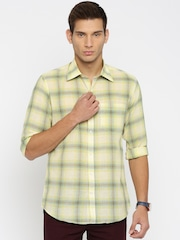 American Crew Men Yellow Slim Fit Checked Casual Shirt