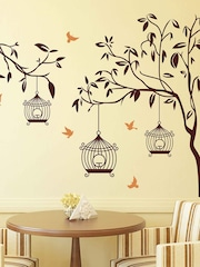 Aspire Brown Tree With Birds U0026 Cages Wall Sticker